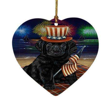 4th of July Independence Day Firework Labrador Retriever Dog Heart Christmas Ornament HPOR48930