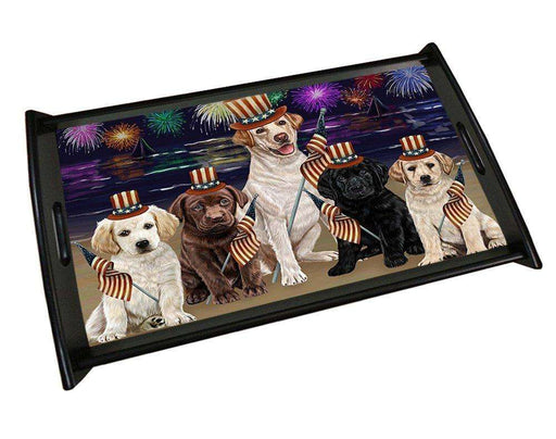 4th of July Independence Day Firework Labrador Retrievers Dog Wood Serving Tray TRP48208