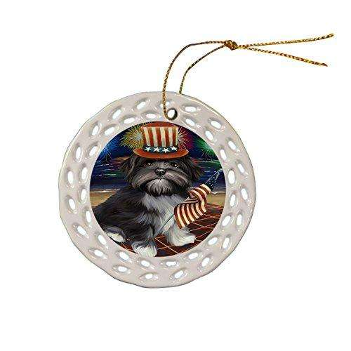 4th of July Independence Day Firework Lhasa Apso Dog Ceramic Doily Ornament DPOR48933