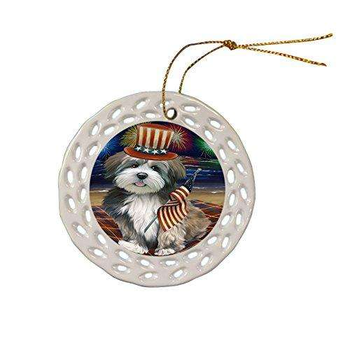 4th of July Independence Day Firework Lhasa Apso Dog Ceramic Doily Ornament DPOR48936