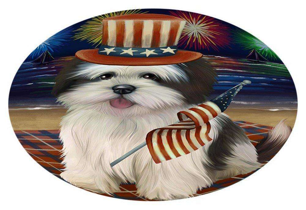 4th of July Independence Day Firework Lhasa Apso Dog Oval Envelope Seals OVE51740