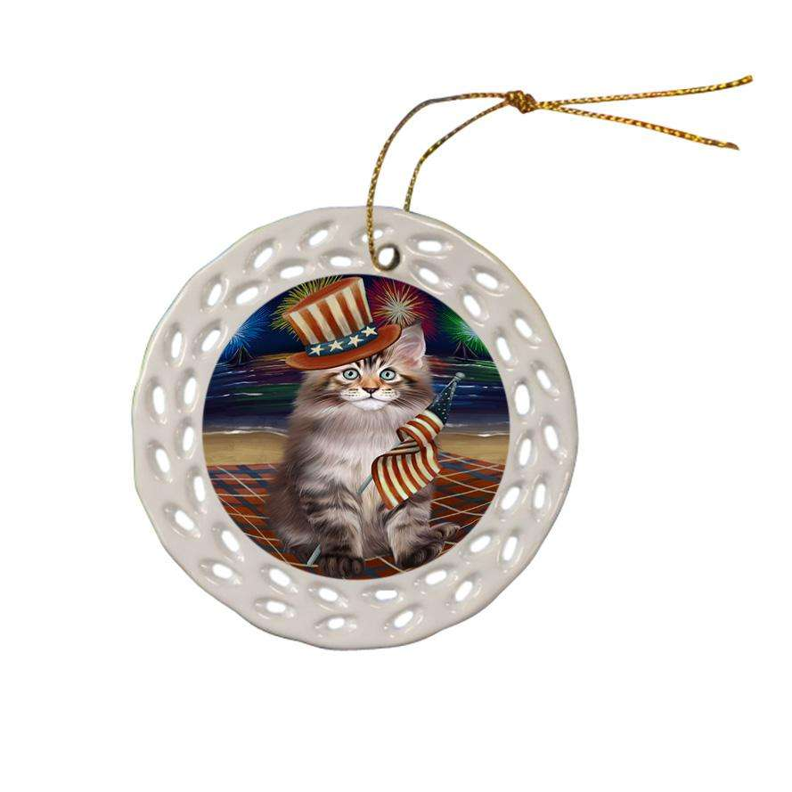 4th of July Independence Day Firework Maine Coon Cat Ceramic Doily Ornament DPOR52060