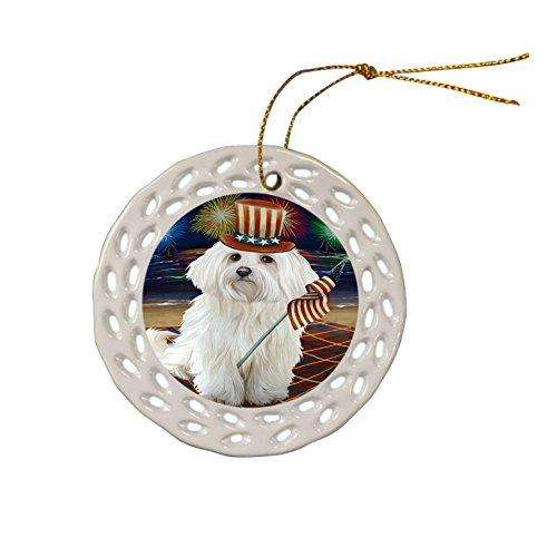 4th of July Independence Day Firework Maltese Dog Ceramic Doily Ornament DPOR48937