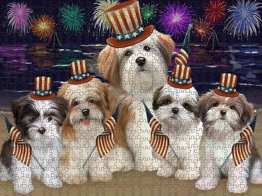 4th of July Independence Day Firework Malti Tzus Dog Puzzle with Photo Tin PUZL51018