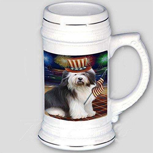 4th of July Independence Day Firework Old English Sheepdog Beer Stein BST480809