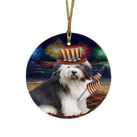4th of July Independence Day Firework Old English Sheepdog Round Christmas Ornament RFPOR48937