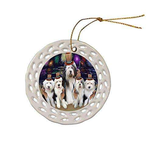 4th of July Independence Day Firework Old English Sheepdogs Ceramic Doily Ornament DPOR48948