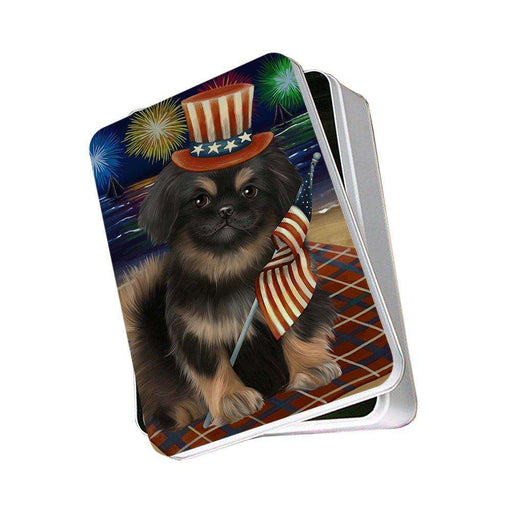4th of July Independence Day Firework Pekingese Dog Photo Storage Tin PITN48951