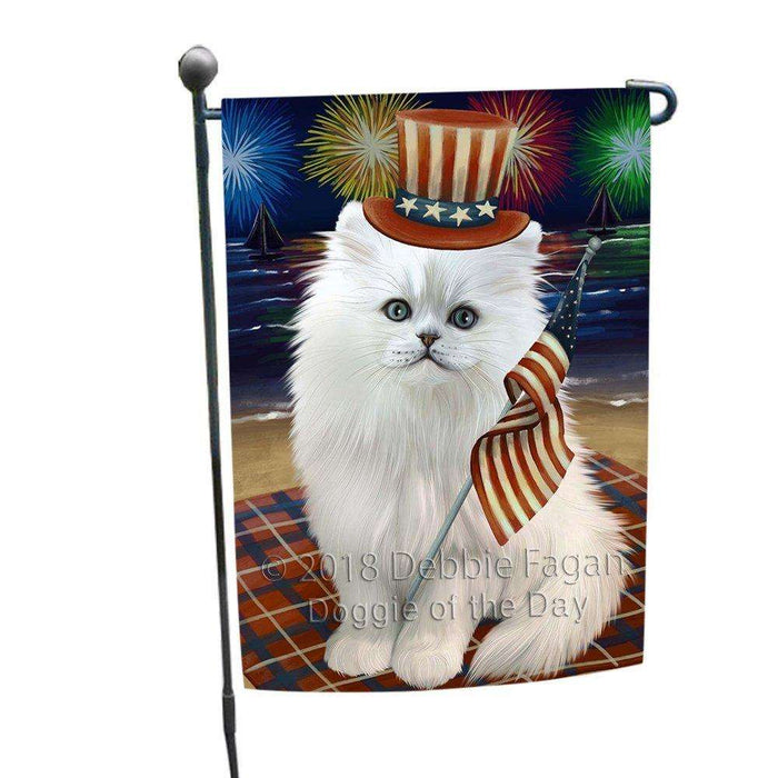 4th of July Independence Day Firework Persian Cat Garden Flag GFLG48867