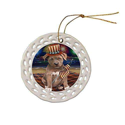 4th of July Independence Day Firework Pit Bull Dog Ceramic Doily Ornament DPOR48961
