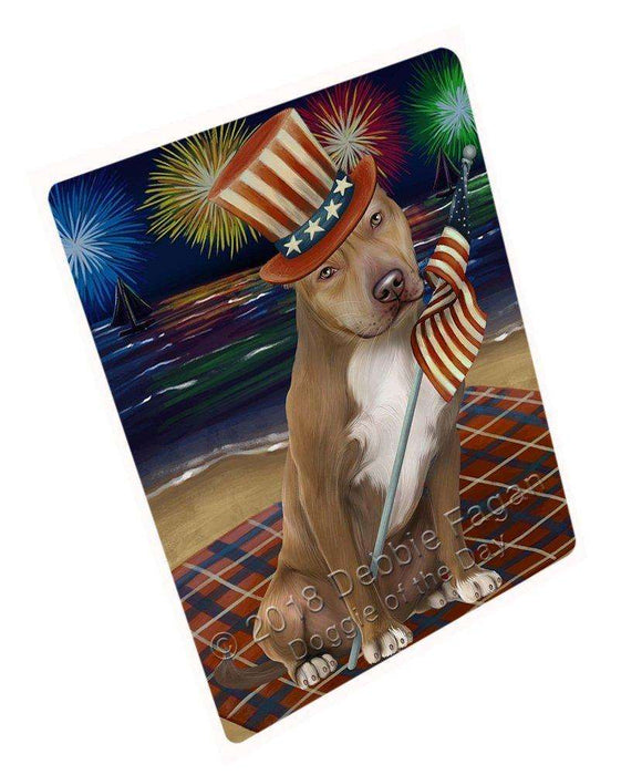 4th of July Independence Day Firework Pit Bull Dog Tempered Cutting Board C50745
