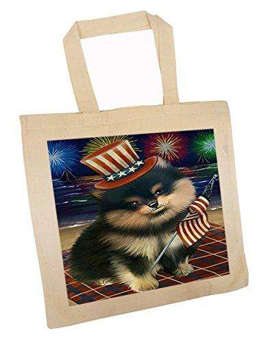 4th of July Independence Day Firework Pomeranian Dog Tote TTE48967