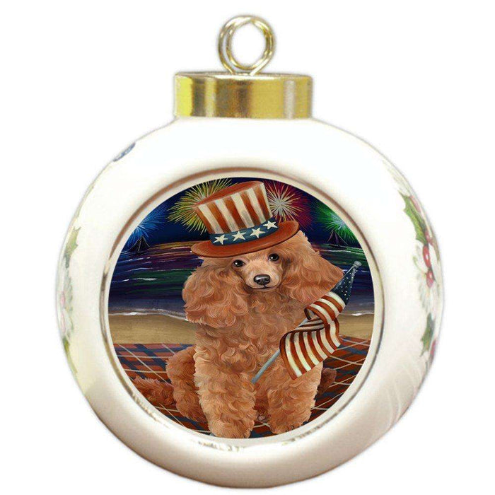 4th of July Independence Day Firework Poodle Dog Round Ball Christmas Ornament RBPOR48973