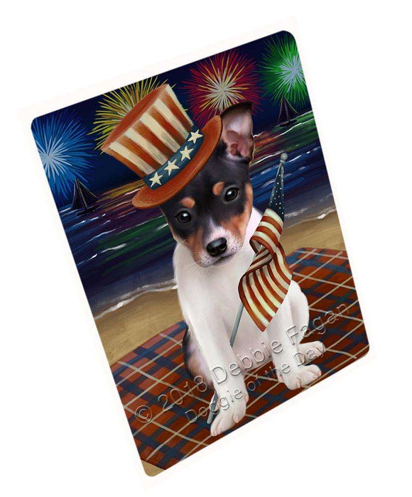 "4th Of July Independence Day Firework Rat Terrier Dog Magnet Mini (3.5"" x 2"") MAG50805"