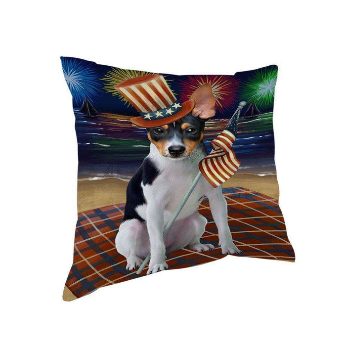 4th of July Independence Day Firework Rat Terrier Dog Pillow PIL51764