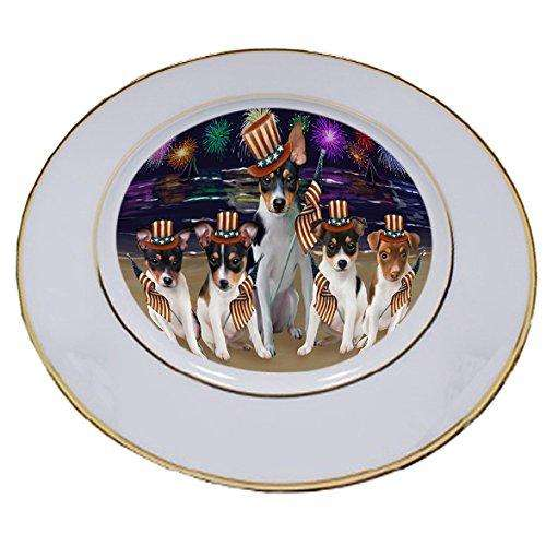 4th of July Independence Day Firework Rat Terriers Dog Porcelain Plate PLT48981