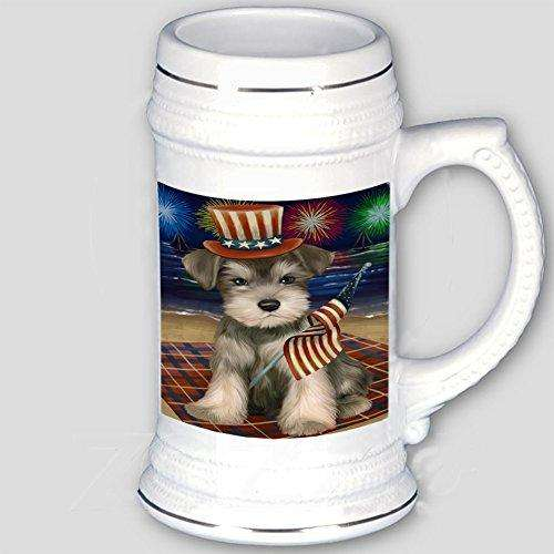 4th of July Independence Day Firework Schnauzer Dog Beer Stein BST480857