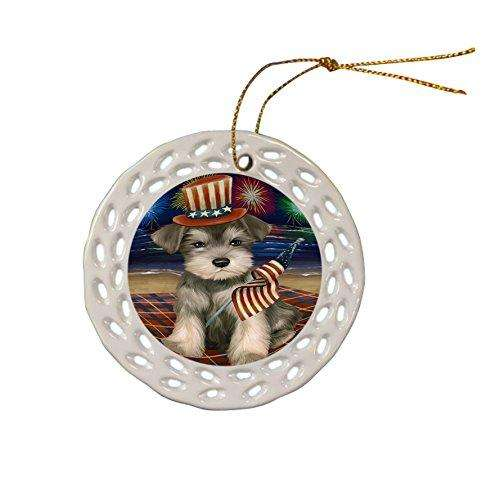 4th of July Independence Day Firework Schnauzer Dog Ceramic Doily Ornament DPOR48994