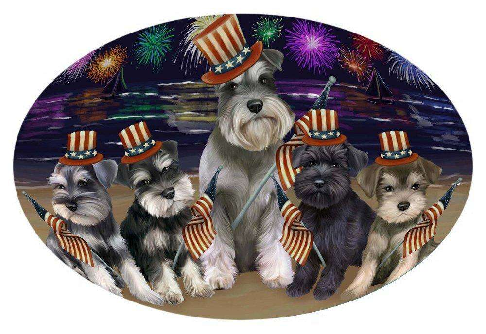 4th of July Independence Day Firework Schnauzers Dog Oval Envelope Seals OVE51964