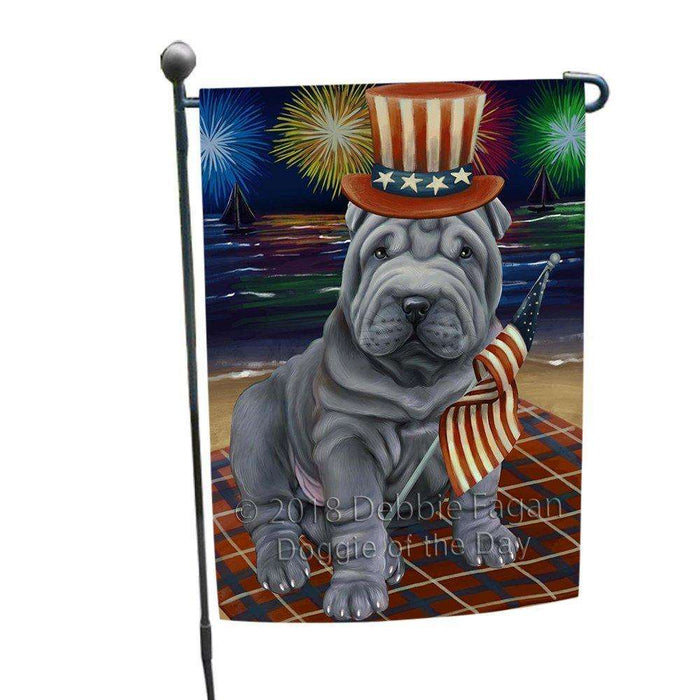 4th of July Independence Day Firework Shar Pei Dog Garden Flag GFLG48909
