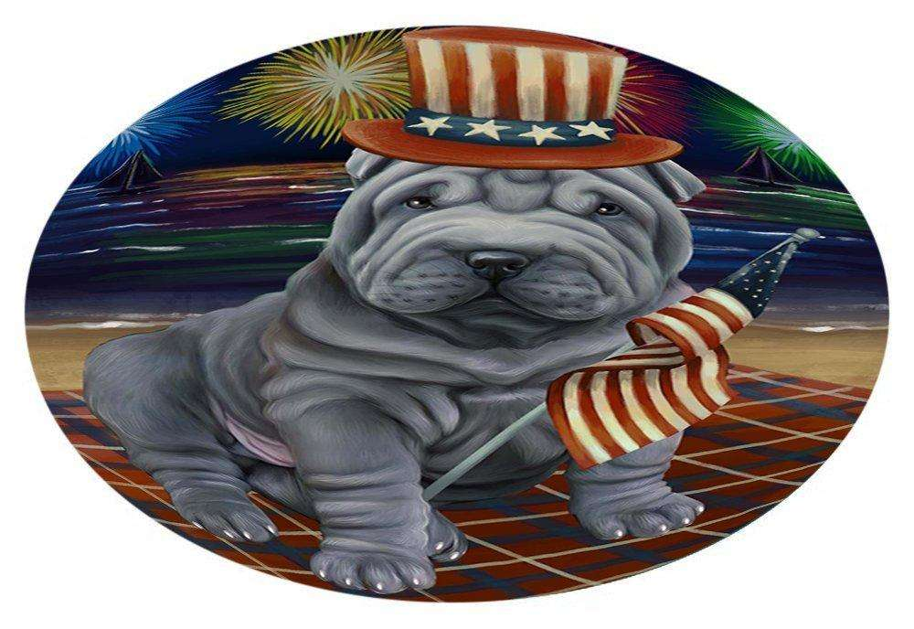 4th of July Independence Day Firework Shar Pei Dog Oval Envelope Seals OVE52000