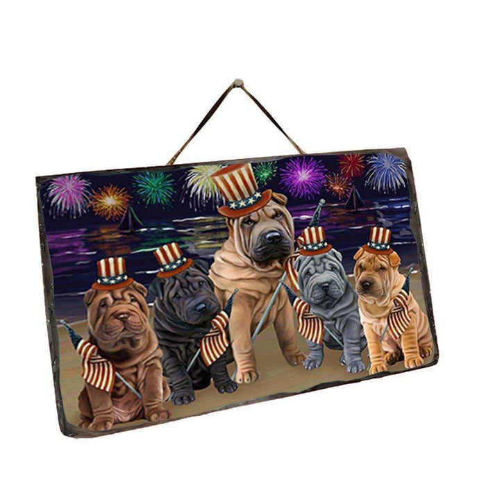 4th of July Independence Day Firework Shar Peis Dog Wall Décor Hanging Photo Slate SLTH48999