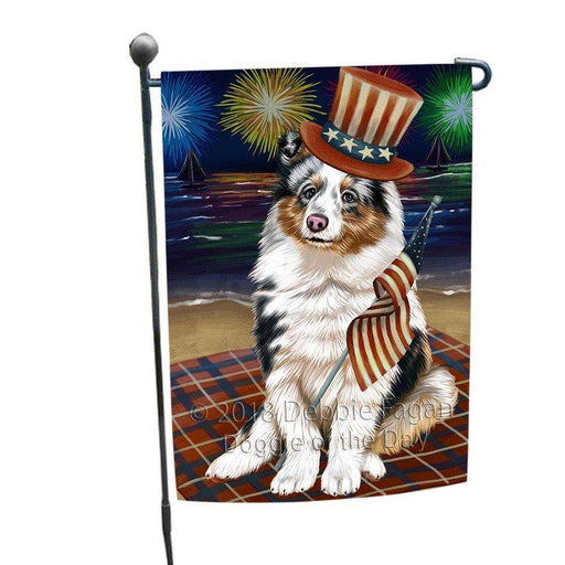 4th of July Independence Day Firework Shetland Sheepdog Garden Flag GFLG48915