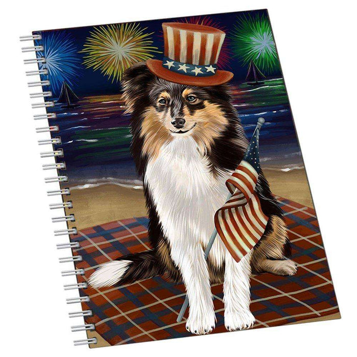 4th of July Independence Day Firework Shetland Sheepdog Notebook NTB48776
