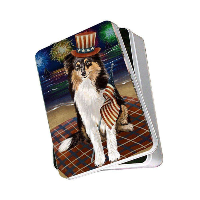 4th of July Independence Day Firework Shetland Sheepdog Photo Storage Tin PITN49008