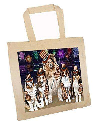 4th of July Independence Day Firework Shetland Sheepdogs Tote TTE49005