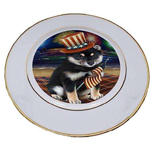 4th of July Independence Day Firework Shiba Inu Dog Porcelain Plate PLT49015