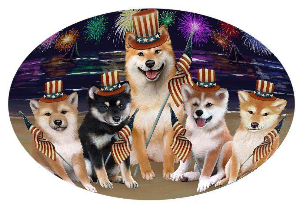 4th of July Independence Day Firework Shiba Inus Dog Oval Envelope Seals OVE52040