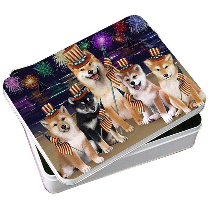 4th of July Independence Day Firework Shiba Inus Dog Photo Storage Tin PITN49010