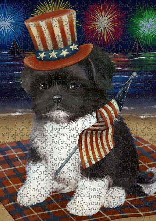 4th of July Independence Day Firework Shih Tzu Dog Puzzle with Photo Tin PUZL51228