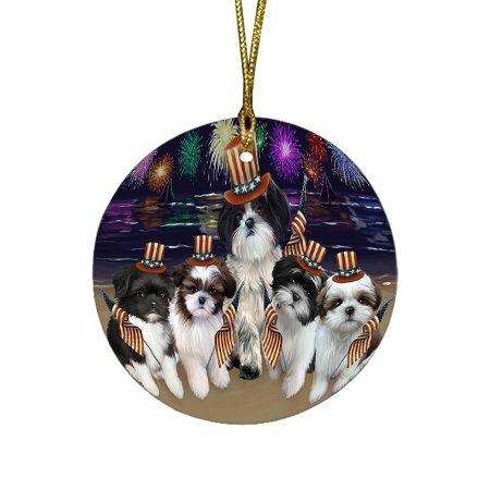 4th of July Independence Day Firework Shih Tzus Dog Round Christmas Ornament RFPOR49005