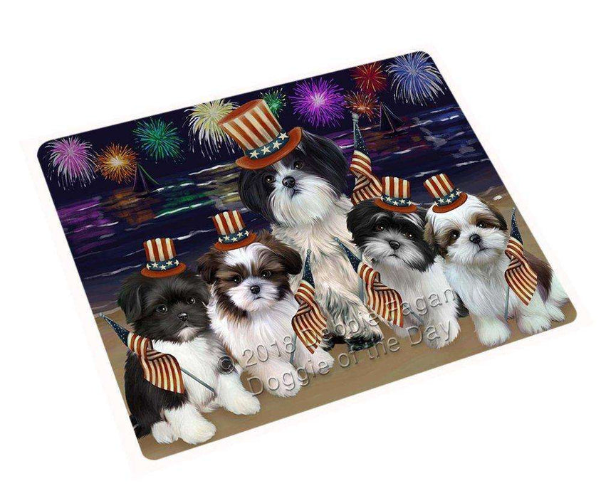 4th of July Independence Day Firework Shih Tzus Dog Tempered Cutting Board C50910