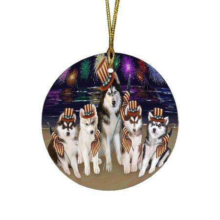 4th of July Independence Day Firework Siberian Huskies Dog Round Christmas Ornament RFPOR49010