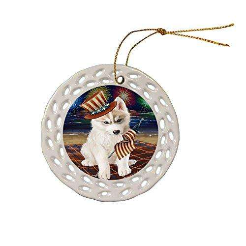 4th of July Independence Day Firework Siberian Husky Dog Ceramic Doily Ornament DPOR49021