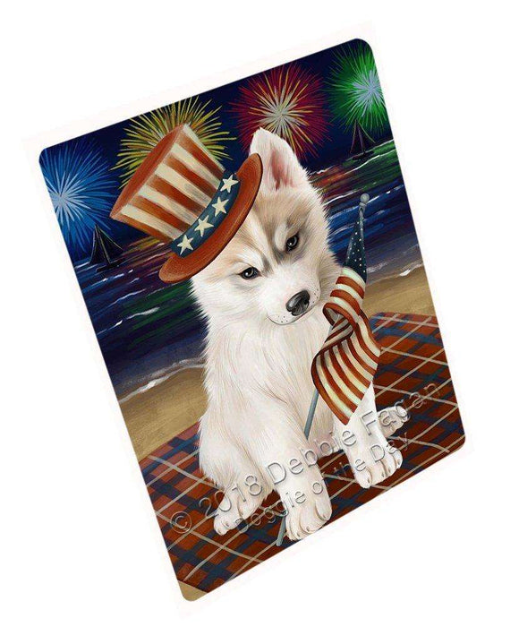 4th of July Independence Day Firework Siberian Husky Dog Tempered Cutting Board C50931
