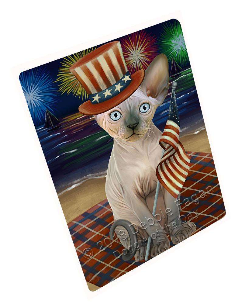 "4th Of July Independence Day Firework Sphynx Cat Magnet Small (5.5"" x 4.25"") mag61470"