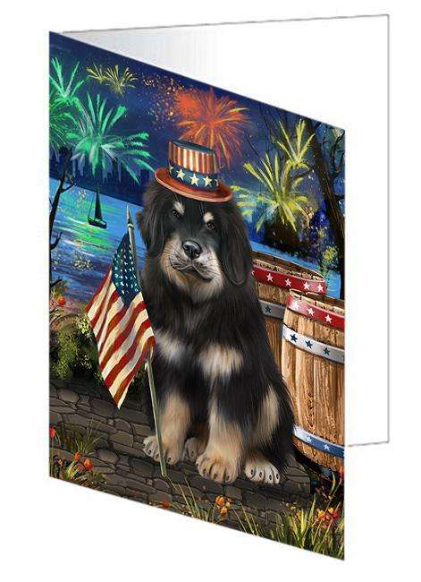4th of July Independence Day Firework Tibetan Mastiff Dog Greeting Card GCD66308