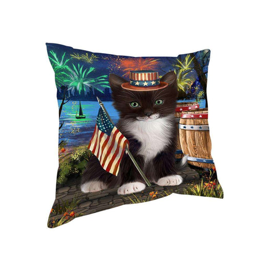 4th of July Independence Day Firework Tuxedo Cat Pillow PIL73040