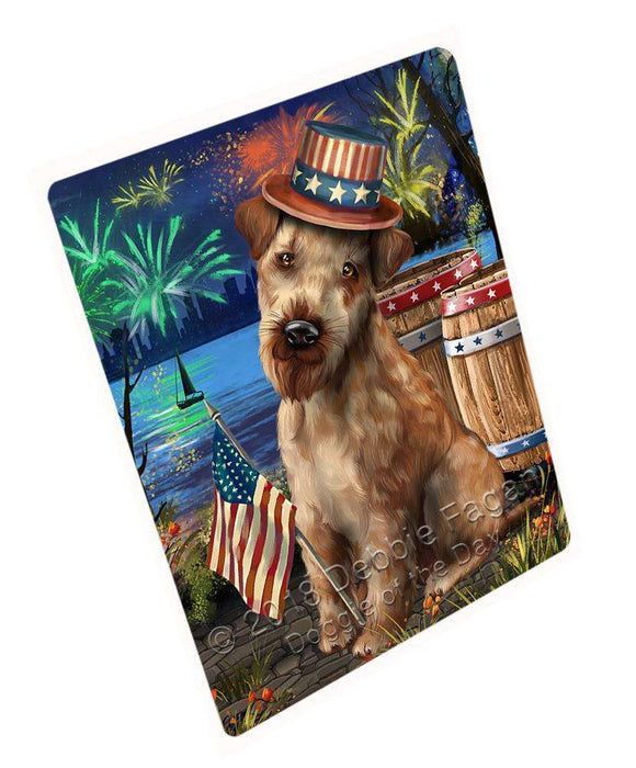 "4th Of July Independence Day Fireworks Airedale Terrier Dog At The Lake Magnet Mini (3.5"" x 2"") MAG56736"