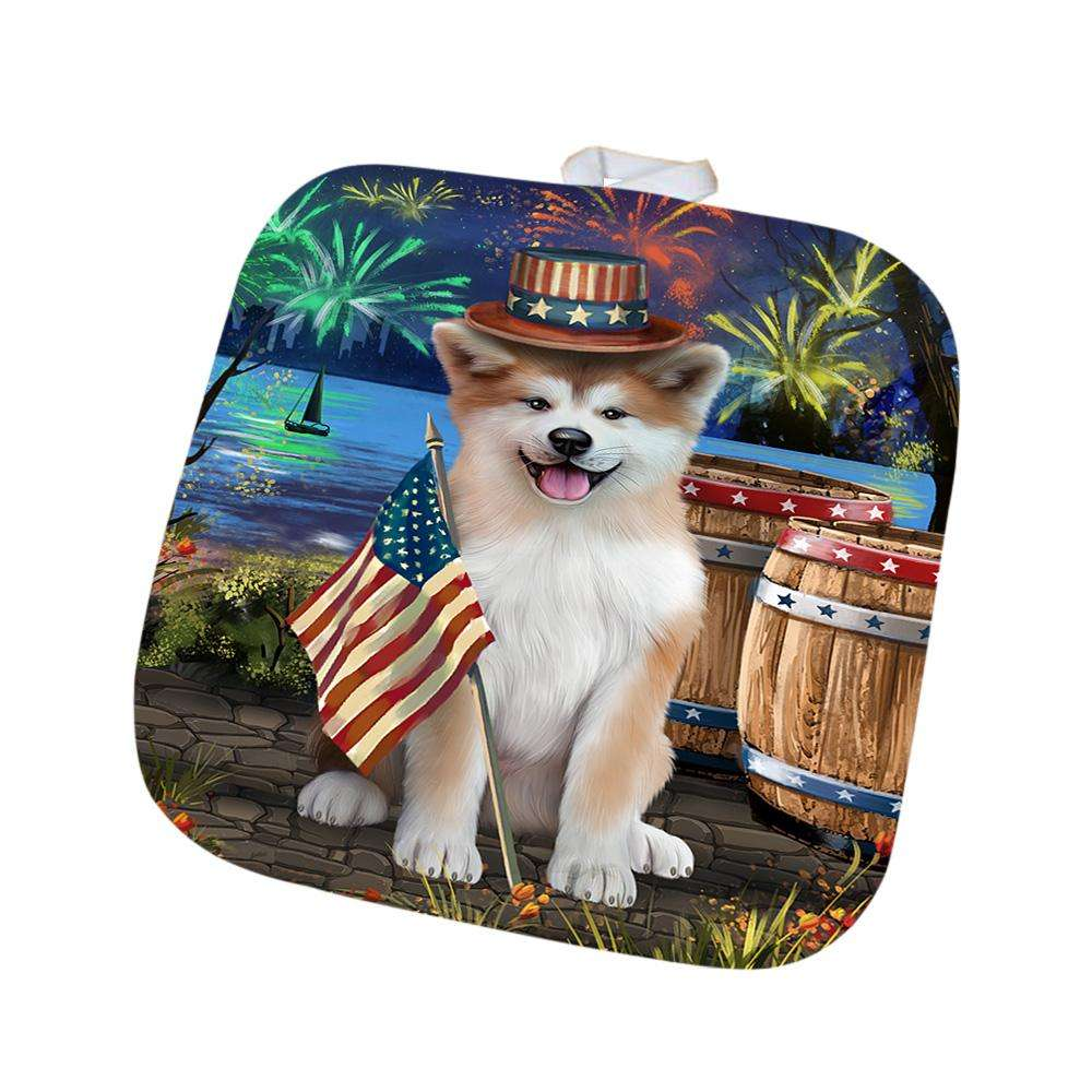 4th of July Independence Day Fireworks Akita Dog at the Lake Pot Holder POT51060