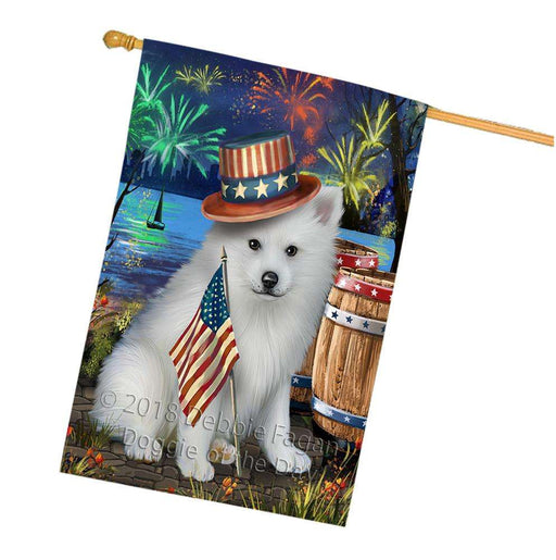 4th of July Independence Day Fireworks American Eskimo Dog at the Lake House Flag FLG50965