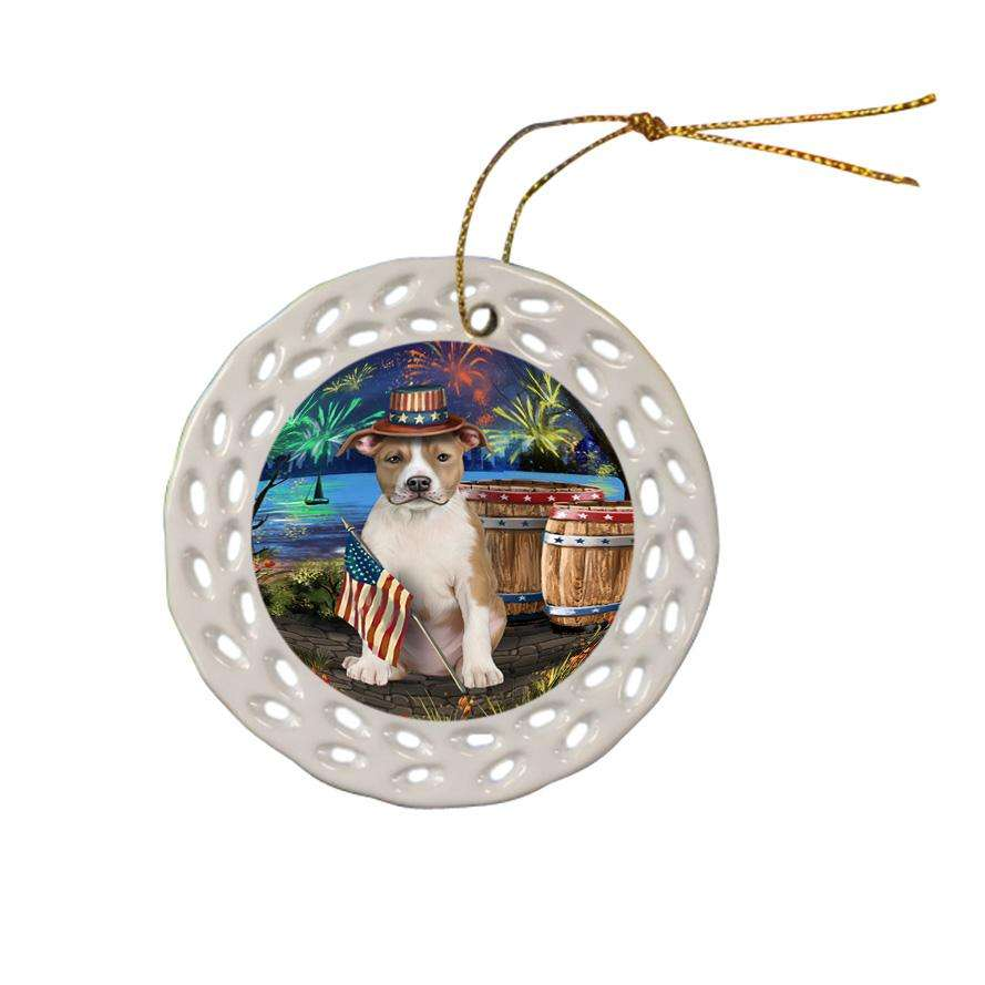 4th of July Independence Day Fireworks American Staffordshire Terrier Dog at the Lake Ceramic Doily Ornament DPOR51075