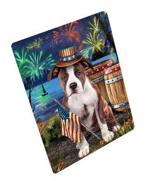 "4th Of July Independence Day Fireworks American Staffordshire Terrier Dog At The Lake Magnet Mini (3.5"" x 2"") MAG57255"
