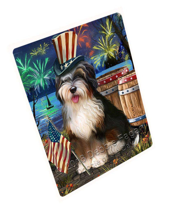 "4th Of July Independence Day Fireworks Bernedoodle Dog At The Lake Magnet Mini (3.5"" x 2"") MAG57288"