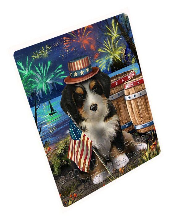 "4th Of July Independence Day Fireworks Bernedoodle Dog At The Lake Magnet Mini (3.5"" x 2"") MAG57291"