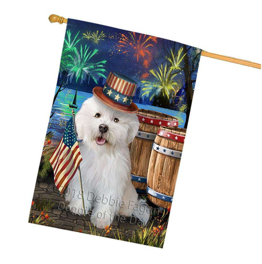 4th of July Independence Day Fireworks Bichon Frise Dog at the Lake House Flag FLG50988